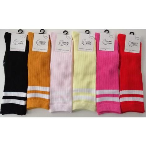 Yellow Moon rib kinder kniekousen in mode kleuren met strepen in de boord