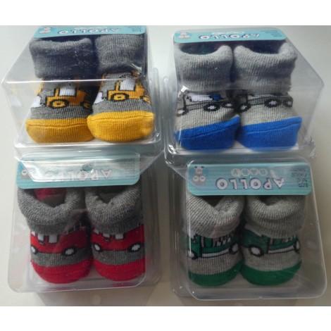 Baby sokjes van 75% katoen in kado verpakking met werk auto's
