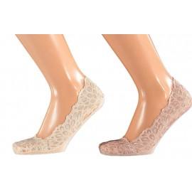 Kanten voetjes voor in sneakers met antislip per twee paar in een pakje