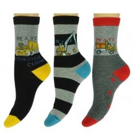 Jongens sokken met een hijskraan, vrachtwagen en bulldozer print