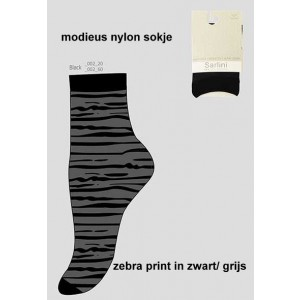 Fashion nylon sokjes van Sarlini met zebraprint
