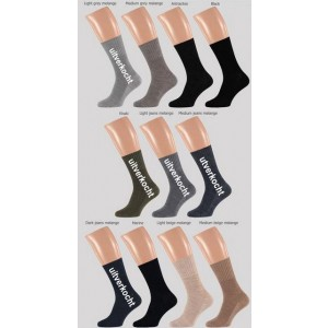 Angro wollen heren sokken zonder elastiek, met een soepele boord, tegen bloedvaat vernauwing, zonder teennaad!