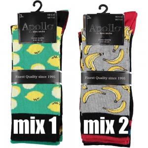 Modieuze heren sokken van katoen met drie verschillende printen per bundel van drie paar