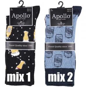Grappige heren sokken van katoen met bier printen en strepen per bundel van drie paar