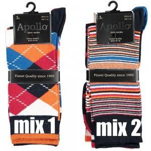 Happy Apollo heren sokken per drie paar in een bundel