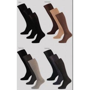 Kniekousen katoen voor heren, per 3 paar verpakt, glad gebreid in uni kleuren