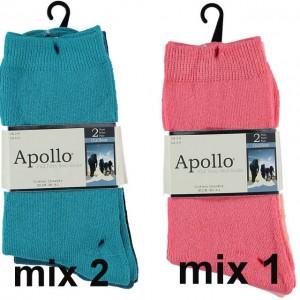 Warme dames sokken van katoen per 2 paar in mode kleuren