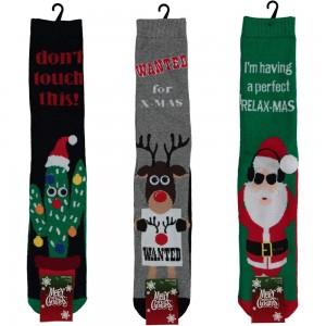 Huissokken met antislip voor heren/ jongens met kerst printen