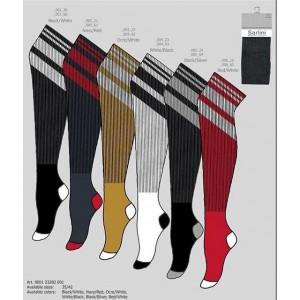 Sarlini mode, dames overknee kous in mode kleuren met strepen aan de boord