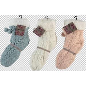 Apollo dames huissokken/sloffen met grove kabel print en antislip zool