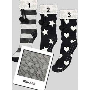 Apollo dames huissokken/sloffen in zwart met strepen, sterren of hartjes met een antislip zool