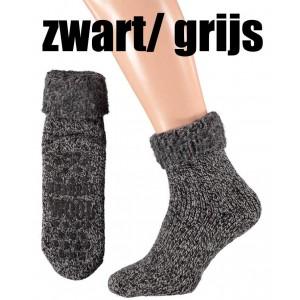 Huissokken/ bedsokken voor dames en heren met 45% wol en antislip !
