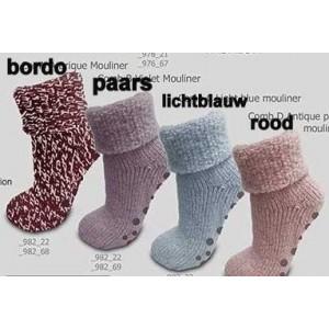 Huissokken/ bedsokken voor dames met 45% wol en antislip !