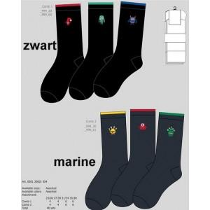 Apollo effen kinder sokken met gekke grappige printen/kleuren in de boord
