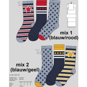 Apollo sokken met drie verschillende sterren printen
