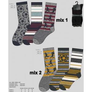 Apollo sokken met strepen en verschillende voetbal prints