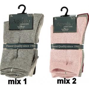 Apollo lurex glitter sokjes voor meisjes per drie paar