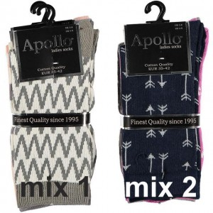 Apollo dames sokken met drie verschillende printen
