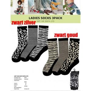 Apollo zwarte dames sokken met drie verschillende glitter printen