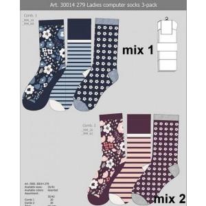 Apollo dames sokken met bloemen en strepen printen