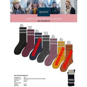 Sarlini mode rib sokken met glitter zilver boord