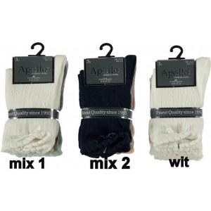 Ajour (gaatjes) sokken voor kids per drie paar