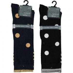 Stoere meisjes kniekousen met glitter stippen en strepen van katoen per 2 paar zonder voelbare teennaad !