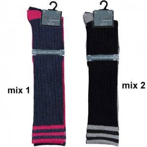 Stoere meisjes kniekousen met rib patroon en strepen in de boord van katoen per 2 paar zonder voelbare teennaad !