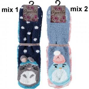 Zachte leuke warme bedsokken/ huissokken per twee paar in een bundel met antislip