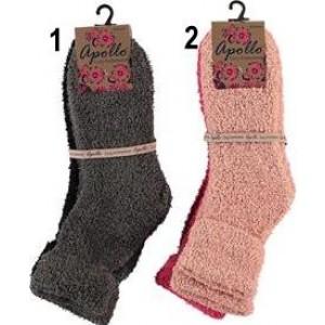Bedsokken voor dames in effen kleuren met een glittereffect over de hele sok. Soft acryl, zeer soepel, zachte wijde boord