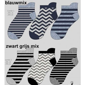 Korte sokjes voor dames/ jongens en heren van katoen met verschillende printjes