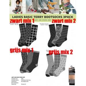Warme sokken voor dames met leuke printen van Apollo per drie paar