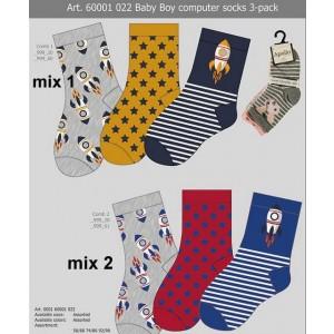 Baby 3 pack sokje voor jongens met leuke printen