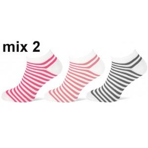 Teckel korte dames sokken met gekleurde strepen per bundel van drie paar