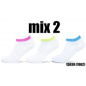 Teckel blinq blinq sneaker sokjes met lurex boordje per drie paar in een pakje