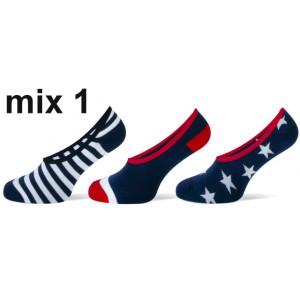 Teckel invisible sneaker met strepen en sterren per drie paar in een pakje