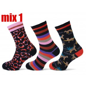 Grappige, vrolijke dames sokken van katoen met diverse printen per bundel van drie paar