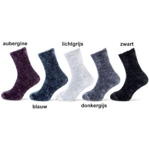 Homesocks/ bedsokken fluweel look per 2 paar van één kleur in een bundel