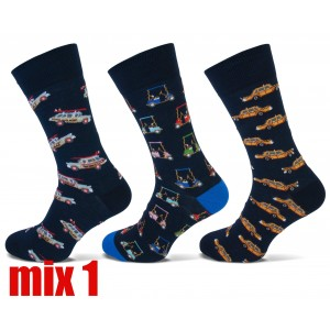Happy Teckel socks met diverse printen voor heren per drie paar