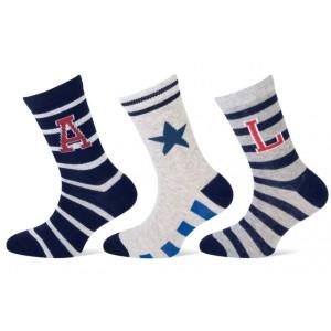 Teckel sokken met strepen, letters en een ster per drie paar