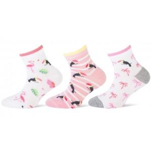 Leuke zomer sokjes met flamingo's en een toekan voor meisjes met een kort boordje