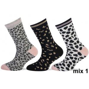 Teckel meisjes sokken met luipaard print per bundel van drie paar