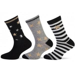 Teckel meisjes sokken met goud lurex sterren per bundel van drie paar