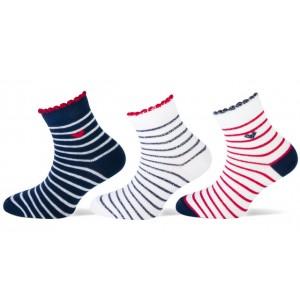 Leuke zomer sokjes met smalle strepen en een kort boordje met een glitter randje