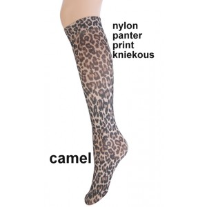 Fashion nylon kniekousjes van Marianne met panterprint