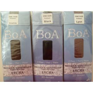 Boa kniekousen 20 denier met lycra per 2 paar verpakt met een extra brede boord!