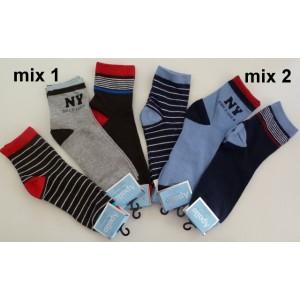 Apollo bewerkte jongens sokken van katoen met een kort boordje per 3 paar