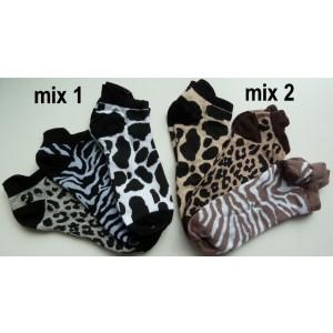 Sneaker sokjes van katoen voor dames met panter print