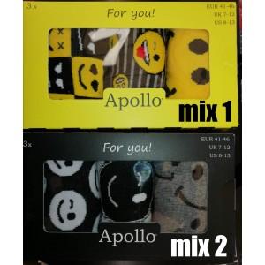 Vrolijke Apollo heren sokken per drie paar in een kado box met emoticons / smileys