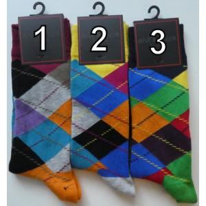 Grappige moderne heren sokken met ruiten in vrolijke kleuren
